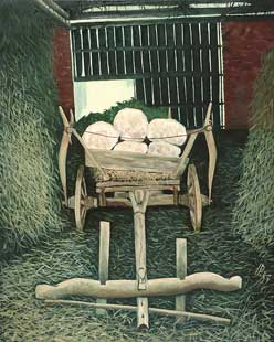 CART IN SHED I - Oil/Canvas (100x81) 1983