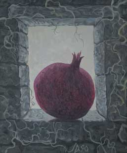 POMEGRANATE IN WINDOW - Oil/Canvas (45,5x38) 1990