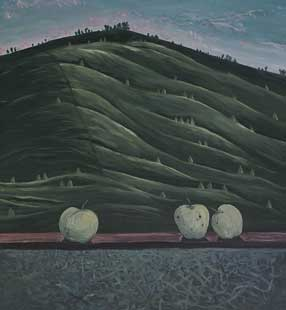 APPLES IN LANDSCAPE II - Oil/Canvas (65x60) 1995