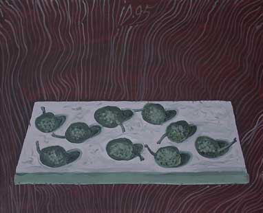STILL LIFE WITH GREEN NUTS - Oil/Canvas (33x41) 1995