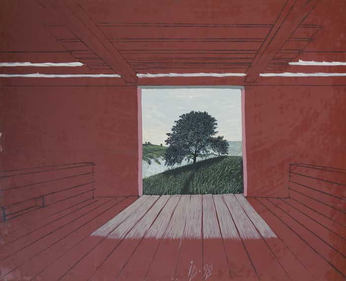 TREE IN SHED - Oil/Canvas (81x100) 1998