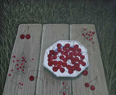 THE CHERRIES PLATE - Oil/Canvas (33,5x41,5) 1998