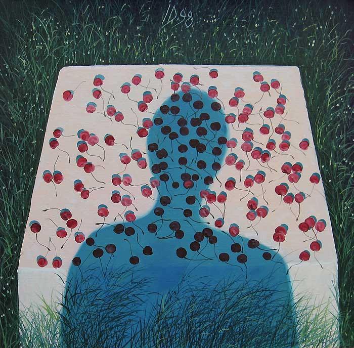 CHERRIES XI - Oil/Canvas (65x65) 1998